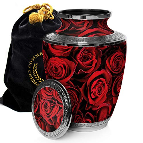 Crimson Rose Cremation Urns for Human Ashes Adult for Funeral, Burial, Columbarium or Home, Cremation Urns for Human Ashes Adult 200 Cubic Inches, Urns for Ashes, Adult Large