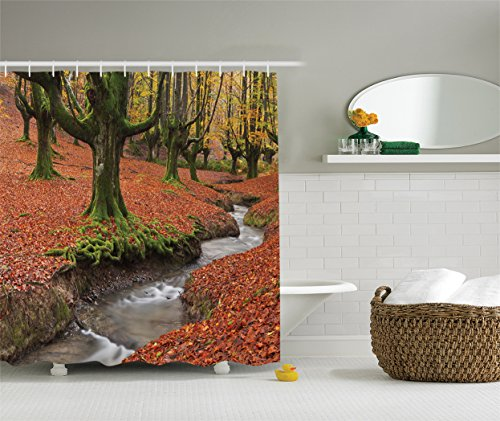 Ambesonne Farm House Decor Collection, Flowing Stream on Colorful Autumn Forest Leaves Gorbea Natural Park Spain Picture, Polyester Fabric Bathroom Shower Curtain, 84 Inches Extra Long, Peru Salmon by Ambesonne