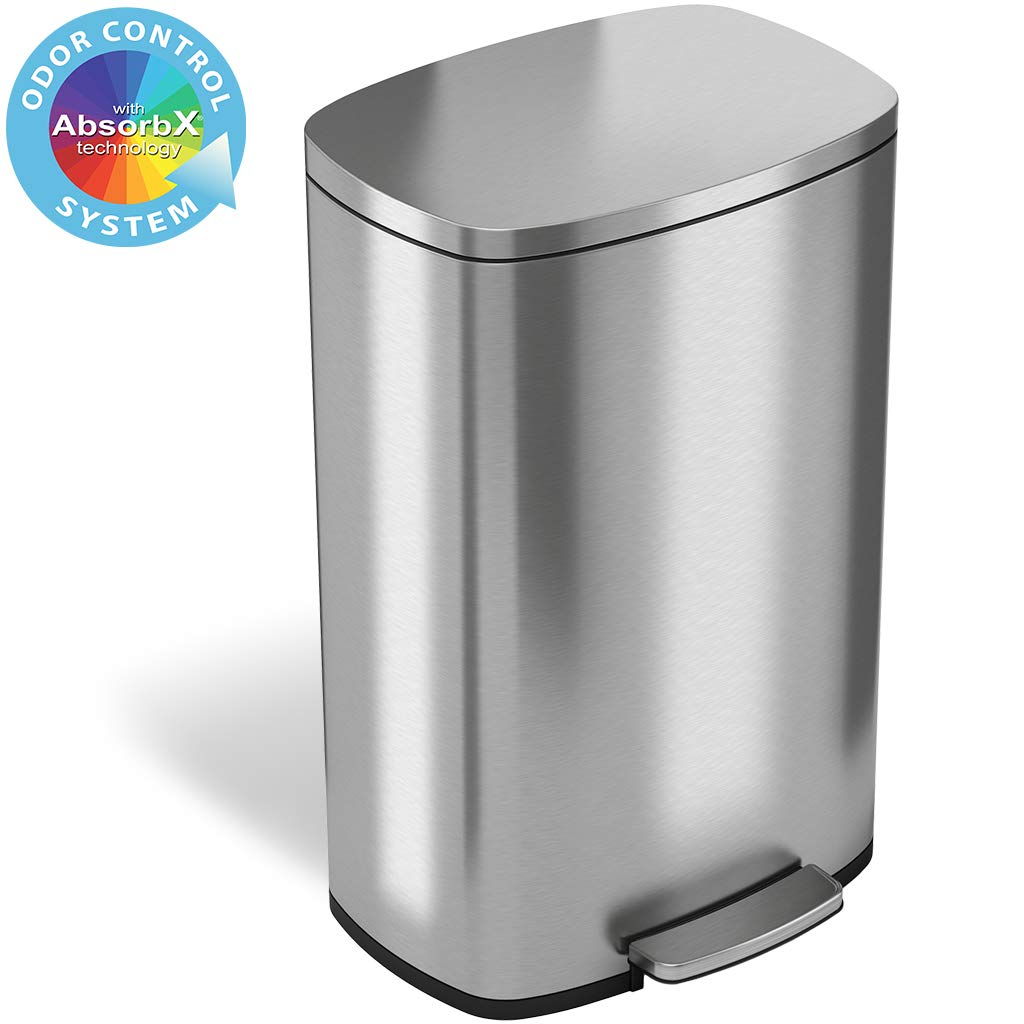 iTouchless SoftStep 13.2 Gallon Step Trash Can with Odor Filter & Removable Inner Bucket, Stainless Steel, 50 Liter Garbage Bin for Kitchen or Office by iTouchless