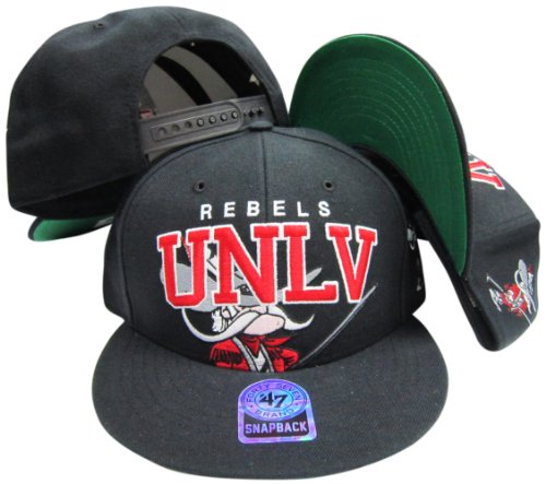 UNLV Runnin Rebels Black Snapback Adjustable Plastic Snap Back Hat / (Unlv Hats For Men)