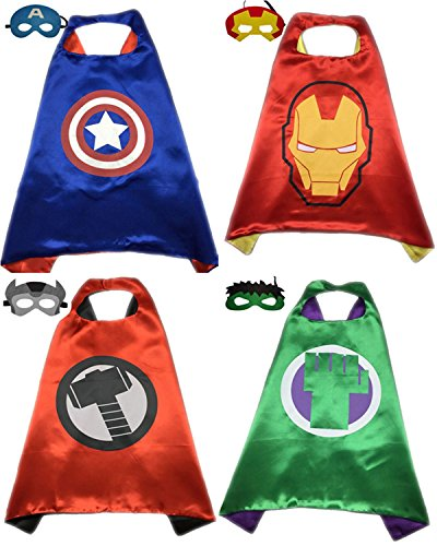 Hulk Costume Girl Incredible (4 Pack Superhero or Princess CAPE & MASK SETS Kids Childrens Halloween Costumes (Captain America Ironman Thor Incredible)
