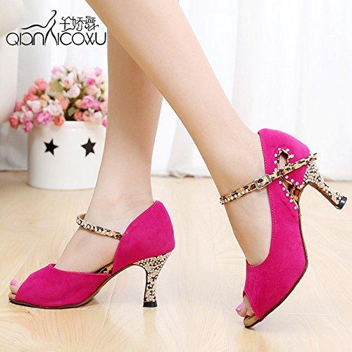 Fashion Moderne Weiblichen Boden Shoe Mit Sandalen Dance Die Weichen Oder Rote Schuhe Feinen 38 Latin Satin Dgsa 1adRxgg