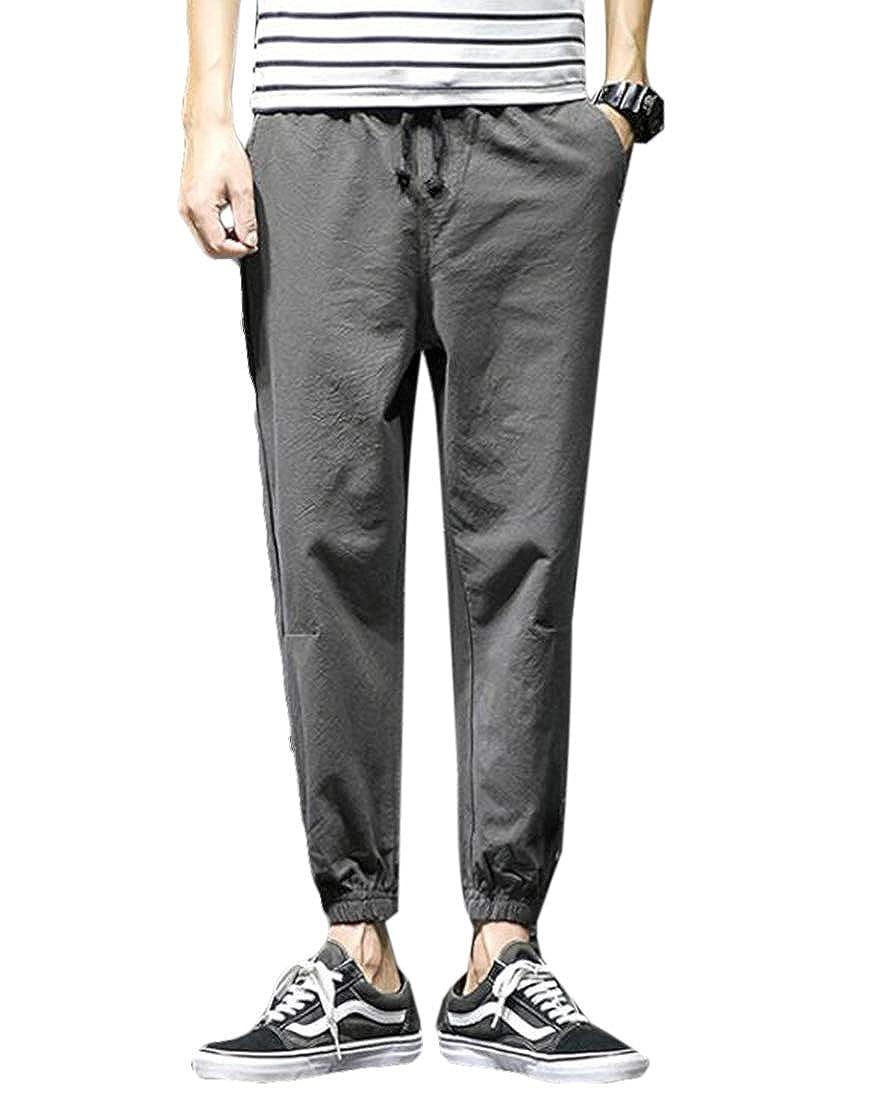 JXG Men Patchwork Jogging Casual Pencil Pants Pocket Trouser