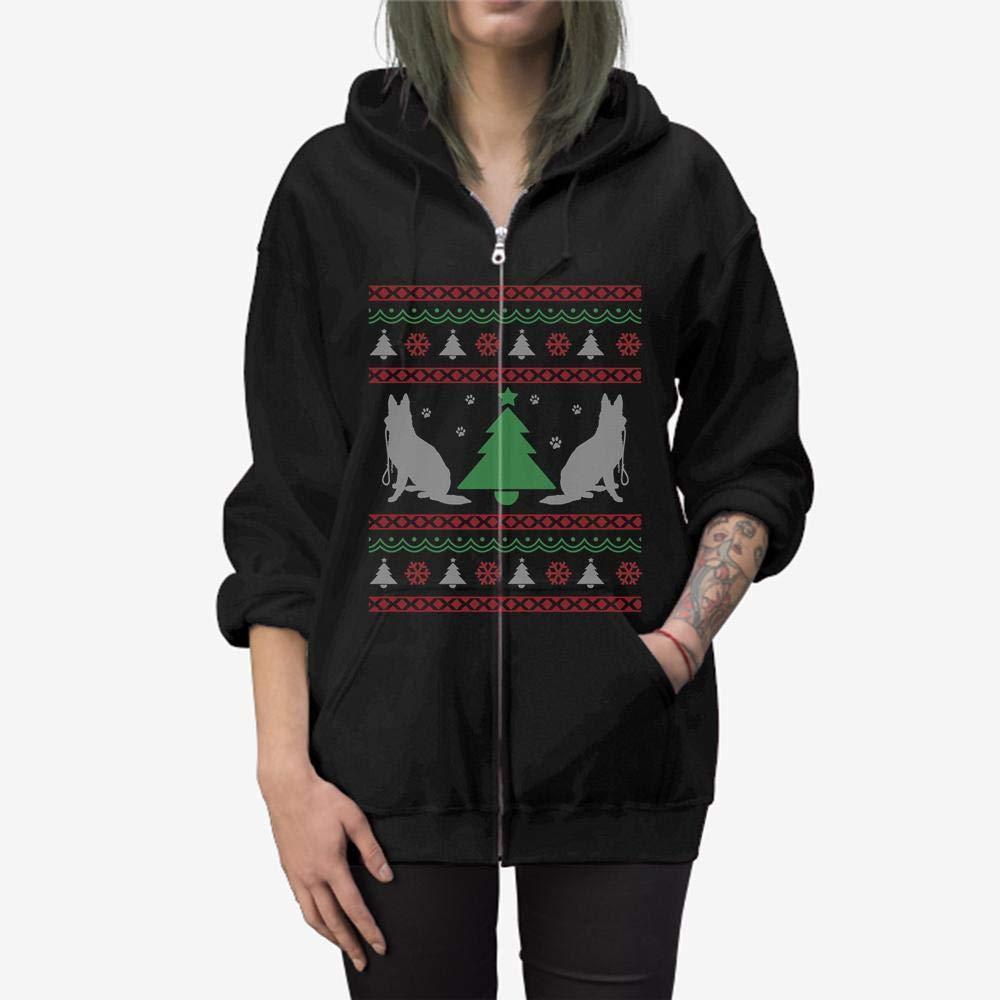Doryti German Shepherd Lovers Ugly Christmas Themed Zip Hooded Sweatshirt