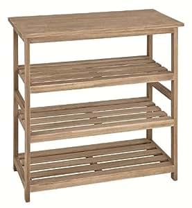 Estantería de madera maciza de roble claro; Dimensiones (B/T/H) 65 x 32 x 72; Entre altura 18 cm