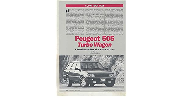 Amazon.com: 1986 Peugeot 505 Turbo Wagon Roadtest Brochure: Entertainment Collectibles