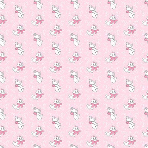 Disney Aristocats Marie Toss in Pink 100% Cotton Fabric by The Yard