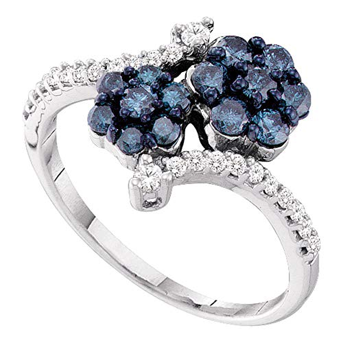 Jewels By Lux 10kt White Gold Womens Round Blue Color Enhanced Diamond Double Flower Cluster Ring 3/4 Cttw In Cluster Setting (I2-I3 clarity; Blue color) Ring Size 7
