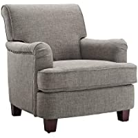 Grey Rolled Top Club Chair with Nailheads - Linen Look - Classic Design