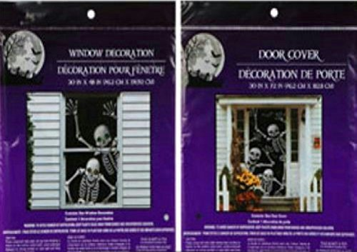 Bundle: 1 Happy Waving Skeleton Door Cover and 1 Smiling Skeleton Window Cover Scary Haunted House Set of Halloween -