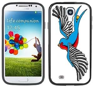 Swallow Sparrow Tattoo Handmade Samsung Galaxy S4 Black Bumper Hard Plastic Case