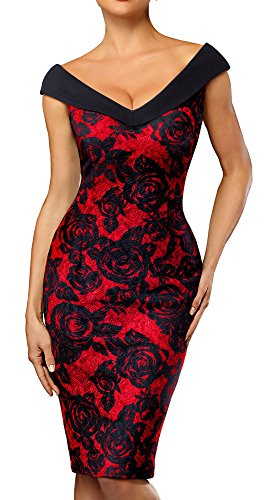 HOMEYEE Women's V-Neck Sleeveless Floral Pencil Dress B425 (4, Black+Red)
