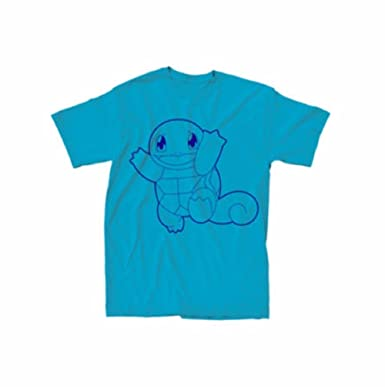 dbb402632 Amazon.com: Pokemon Blue On Blue Squirtle T-Shirt: Clothing