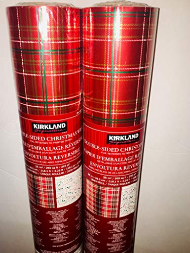 - Kirkland Christmas Double Sided Foil Gift Wrap 2 Pack Red Stripes