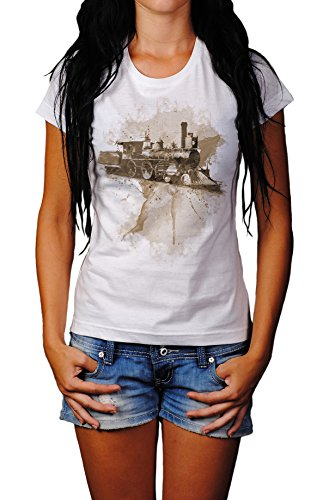 Alte Lokomotive Lady T- Shirt , Stylisch aus Paul Sinus Aquarell Sepia Style