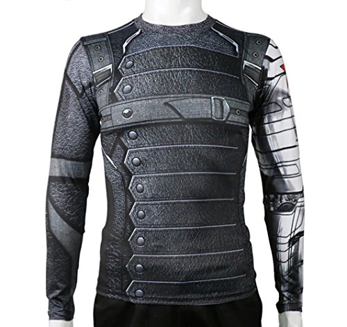 [Rulercosplay Civil War Winter Soldier Shirt Long Sleeves Sport Shirt (S)] (Winter Running Costume)