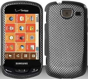 Carbon Fiber Design Hard Snap On Case Cover Faceplate Protector for Samsung Brightside U380 Verizon + Free Texi Gift Box