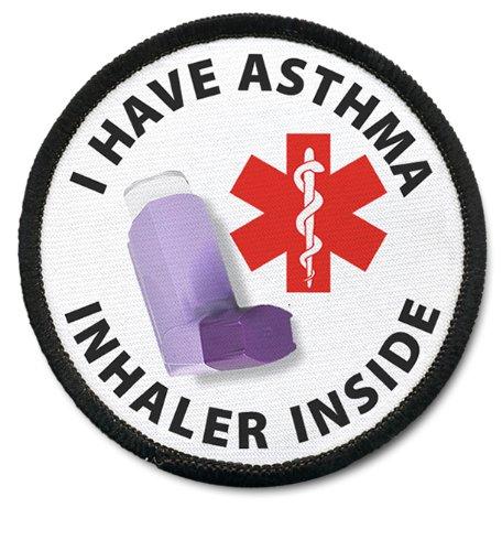 ASTHMA INHALER INSIDE Black Rim Medical Alert 2.5 inch Sew-on Patch
