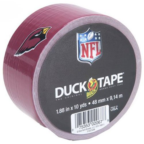 Duck Brand 281556 Arizona Cardinals NFL Team Logo Duct Tape, 1.88-Inch by 10 Yards, Single Roll