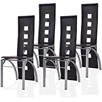 Giantex Set of 4 Dining Chairs PU Leather Steel Frame High Back Home Furniture (Black)
