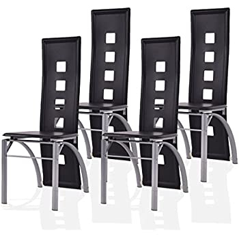 Giantex Set Of 4 Dining Chairs PU Leather Steel Frame High Back Home  Furniture (Black Part 7