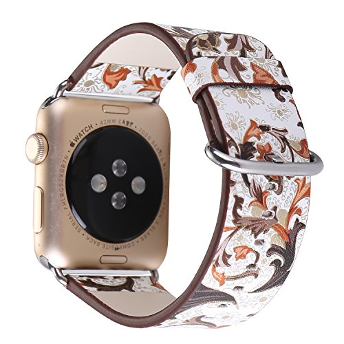 TCSHOW For Apple Watch Band 38mm,38mm Soft PU Leather Pastoral/Rural Style Replacement Strap Wrist Band with Silver Metal Adapter for both Series 1 and Series 2 (J)