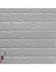 SMXGF 3D-Brick Wallpaper Peel en Stick Wall Panel Living Room Stickers Slaapkamer Kinderkamer Brick zelfklevend behang Decor van het Huis (Color : Sliver Gray, Dimensions : 6PCS70X77CM)