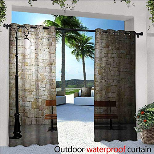 - cobeDecor Street Outdoor Blackout Curtains Modern Avenue at Dark Night with a Open Lamp and Bench and Stone Wall Behind Image Outdoor Privacy Porch Curtains W108 x L108 Multicolor