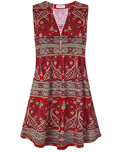 Bulotus Dresses for Women Summer Casual Sleeveless Sundress, Paisley Red, X-Large