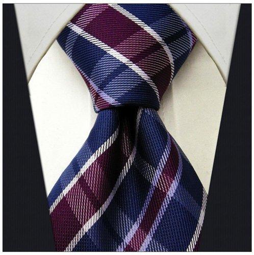 Plaid Ties for Men - Woven Necktie - Mens Ties Neck Tie - Navy Blue w/Plum Purple (Plum Navy)