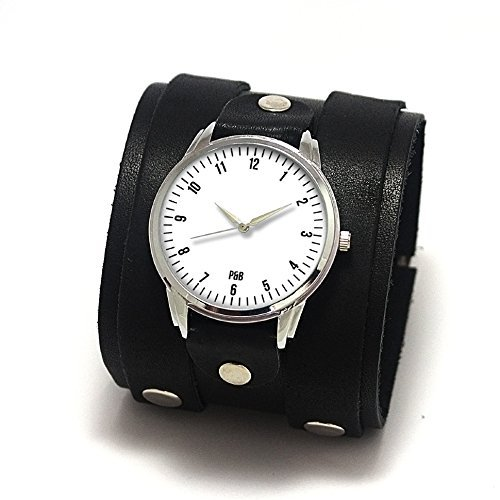 Urban watches with double buckled cuff made of genuine leather, japan movt, minimalistic design watch dial by P&B
