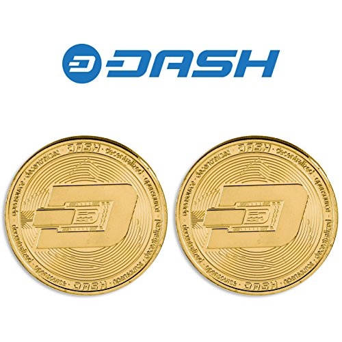 YaaNBit 2PCs Gold Plated Dash Coin | Perfect Novelty Gift or Souvenir for Blockchain Enthusiasts