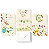 48 Assorted Pack Thank You Note Cards Bulk Box Set - Blank on the Inside - 6 Garden Watercolor Floral Flower Bird Designs - Includes 48 Greeting Cards and Envelopes - 4 x 6 Inches