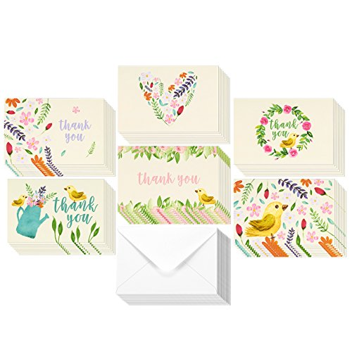 48 Assorted Pack Thank You Note Cards Bulk Box Set - Blank on the Inside - 6 Vintage Garden Watercolor Floral Flower Bird Designs - Includes 48 Greeting Cards and Envelopes - 4 x 6 Inches