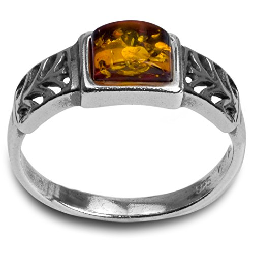 - Sterling Silver Amber Rectangular Shape Stone Classic Ring