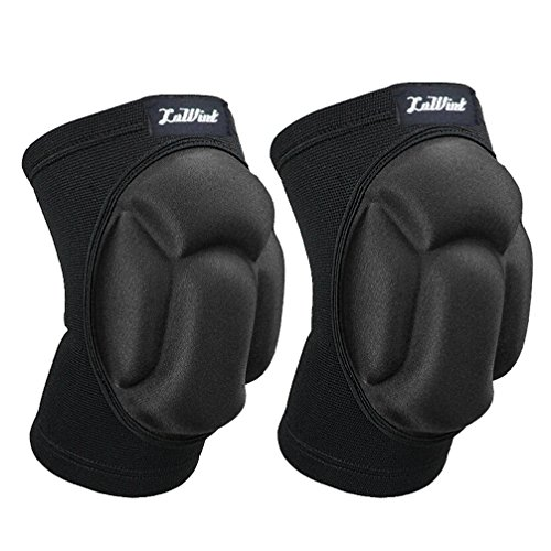 Luwint Adults Basketball Volleyball Knee Pads - Elastic Anti-Slip Compression Knee Sleeves Support for Gardening Weightlifting Fitness Sports for Men Women, 1 Pair (Upgraded Black)