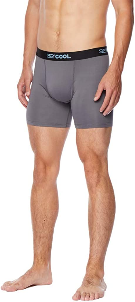 32 DEGREES Mens Cool Quick Dry Active Fitted Stretch Boxer Brief, Charcoal, Small