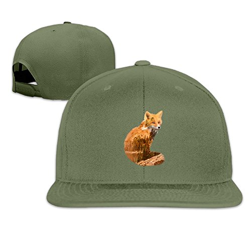 LINNA Custom Unisex Double Exposure Fox With Nature Flat Billed Baseball Cap Hats - Baseball Hat Burberry