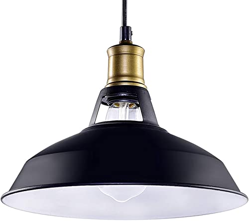 CMYK Barn Pendant Light, Black Edison Industrial Semi-Flush Mount Antique Ceiling Light Suitable for Kitchen,Loft Bar ,Cafe and Living Room