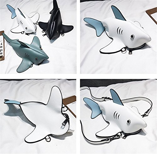 White Bag Bag Cartoon PU Handbag Women's Shoulder Small Colors Fashion Purse Mobile Bag Phone Leather Shark Messenger Rrock Bag Four wHxPIaan
