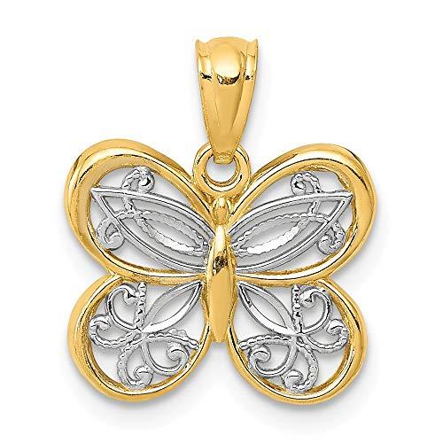 14k Yellow Gold & White Rhodium Fancy Butterfly Pendant, 14mm