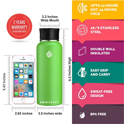 SWIG SAVVY Stainless Steel Water Bottle - Vacuum Insulated Double Wall & Wide Mouth Design - Drinking Mug for Hot & Cold Drinks - BPA Free
