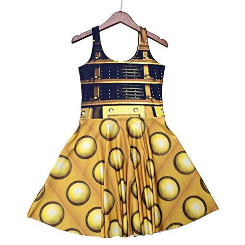 George Gouge Sexy Girl Women Summer Golden The Daleks Tardis 3D Digital Prints Reversible Sleeveless Skater Pleated Dress -