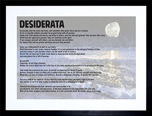 (9x7 INCH DESIDERATA EHRMANN GO PLACIDLY AMID NOISE HASTE QUOTE TYPOGRAPHY FRAMED WALL ART PRINT PICTURE PAINTING WOODEN PHOTO FRAME BLACK WHITE OAK BROWN F97X269)