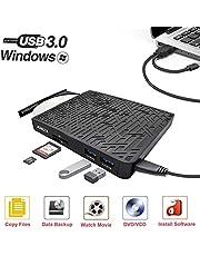 Grabadora CD/DVD Externa USB 3.0, ANIZR CD/DVD +/- RW Drive ROM Rewriter Burner para PC Desktop Laptop Windows Linux OS Mac Vista