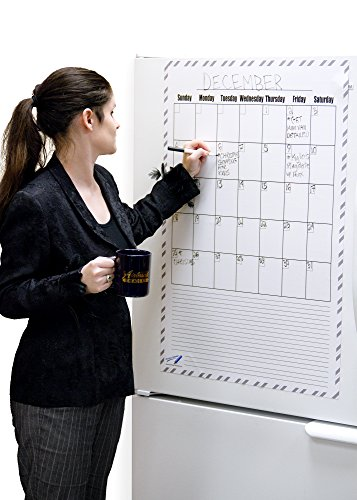 Giant Magnetic Whiteboard Refrigerator Calendar – Blank Monthly Magnetic Dry Erase Calendar for Fridge 24x36 inches (2'x3')