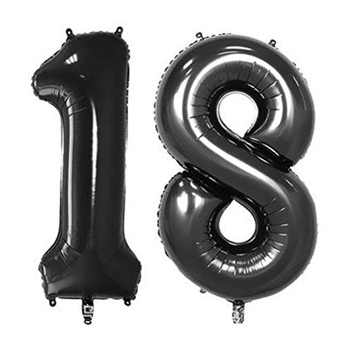 NUOLUX 40 inch Jumbo Foil Balloons Number 18 Balloons for Birthday Anniversary Decoration (Black)