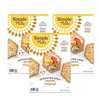Simple Mills Original Gluten Free Sprouted Seed Crackers with Chia Seeds, Hemp Seeds, Sunflower Seeds, Flax Seeds, and Sunflower Oil, Made with whole foods, 3 Count (Packaging May Vary)