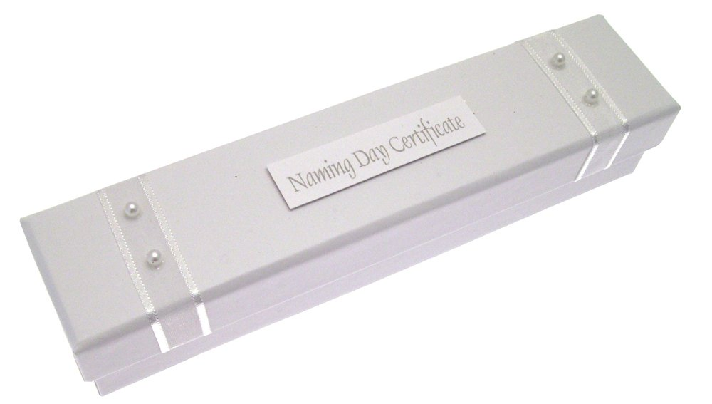 White Cotton Cards Naming Day White Pearls Certificate Holder