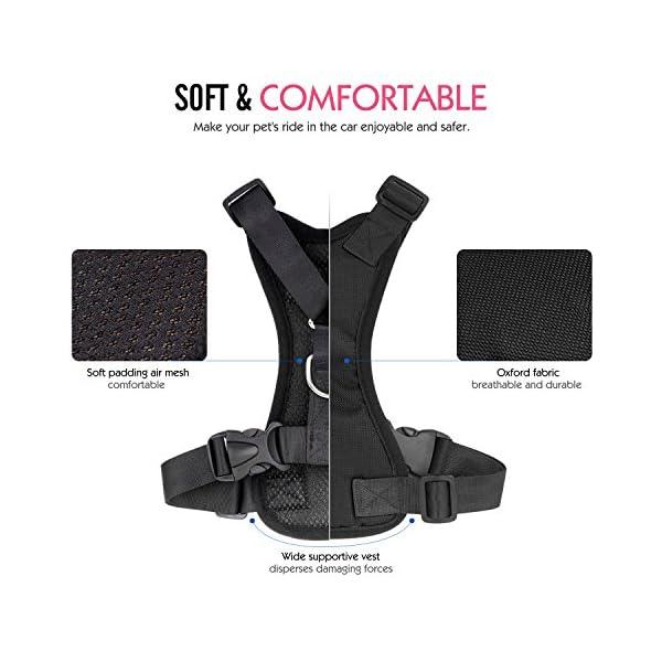 Pawaboo Dog Safety Vest Harness, Pet Dog Adjustable Car Safety Mesh Harness Travel Strap Vest with Car Seat Belt Lead Clip. 3